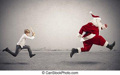 怒る,  Claus,  santa, 子供