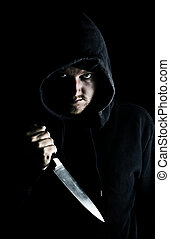 怖じけさせるようである, フード付き, 青年, クラッチを入れる, ナイフ, へ, 胸
