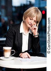 思いやりがある, 女, カフェ, ビジネス