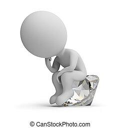思想家, ダイヤモンド, -, 3d, 人々, 小さい