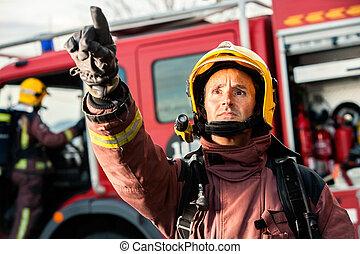 急切, 消防隊員, 指, fire.