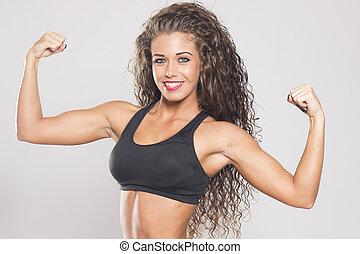 性感, 健身, 婦女, 屈曲肌肉