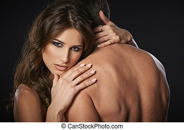 性感, 夫婦, 年輕, 擁抱