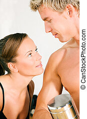 性感, 夫婦, 由于, dumbbells, 在, 體操