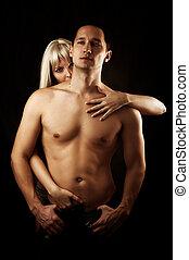性感, 夫婦, ......的, 情人, 擁抱