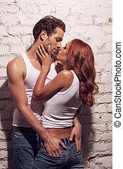 性感, 夫婦, kissing., 當時, 人, 触, 女孩, 驢
