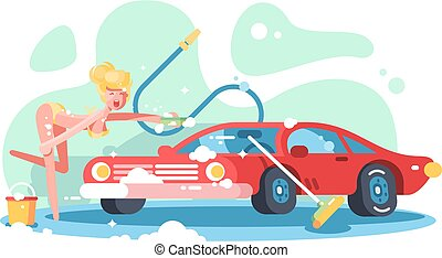 性感, 女孩, 洗涤, 红, 汽车