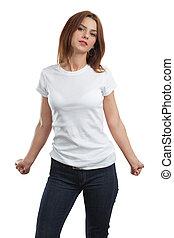 性感, 女性, 由于, 空白, 白的襯衫