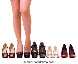 性感, 婦女的, 腿, 由于, 時裝, 鞋子