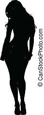 性感, 婦女, 矯柔造作, 黑色半面畫像, 矢量