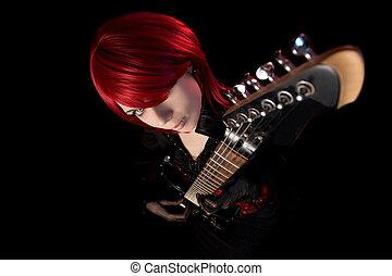 性感, 岩石, 女孩, 由于, 吉他, 高的角度意見