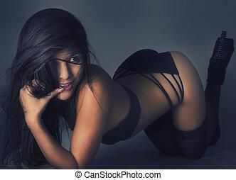 性感, 誘人, 美麗的婦女