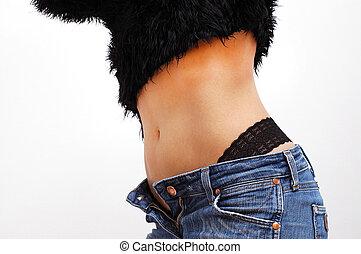 性感, 驢, ......的, a, 婦女, 在, 牛仔褲