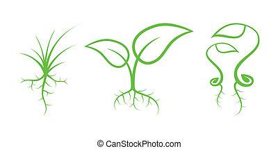 性质, -, icons., 部分, 绿色, 7, 新芽