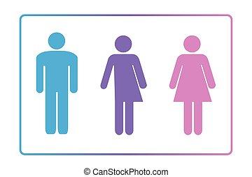 性, ニュートラル, 印, restroom