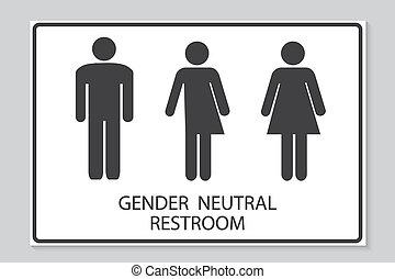 性, ニュートラル, restroom の 印