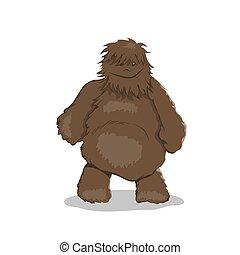 怪物, 布朗, 圖像, 卡通, bigfoot, 肥胖, 森林, style., 被隔离, 幻想, yeti.