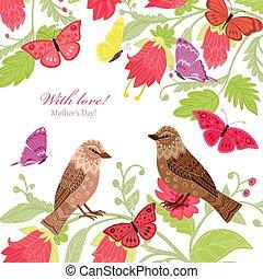 恋人, あなたの, デザイン, 招待, 花, 鳥, カード