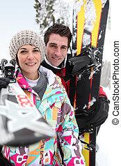 恋人, から, 一緒に, スキー