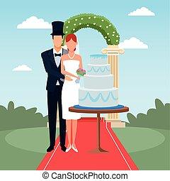 恋人, ただ結婚した, 地位, のまわり, 花, ケーキ, 結婚式, アーチ