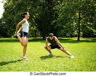 恋人, -, の上, 運動, ジョッギング, 暖かい, 前に