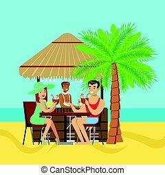 恋人, カフェ, 浜, 若い, モデル