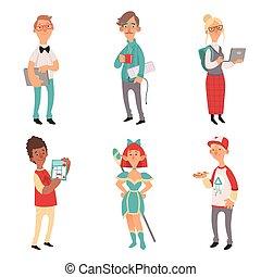 恋人, コンピュータ, characters., nerd, geek, 男の子, ベクトル, 女の子, 技術, 漫画, マスコット