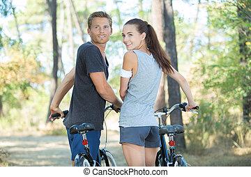 恋人, サイクリング, 森林