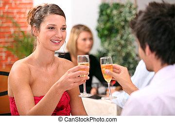 恋人, シャンペン ガラス, レストラン