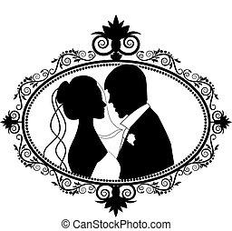 恋人, シルエット, 結婚式