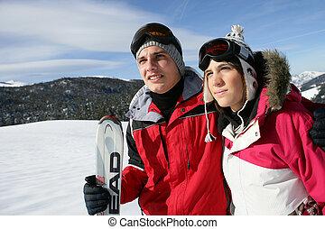 恋人, スキー, 若い