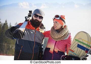 恋人, スキー, 若い, 旅行