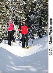 恋人, スキー, 靴, 歩くこと