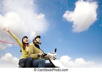 恋人, スクーター, 幸せ, 楽しみ, 持つこと, 若い