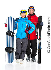 恋人, スノーボーダー, 幸せ, スキー, 背景, 隔離された, 一緒に, 微笑, 魅力的, rider., 地位, 白