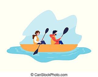 恋人, スポーツ, 若い, 極点, カヌー