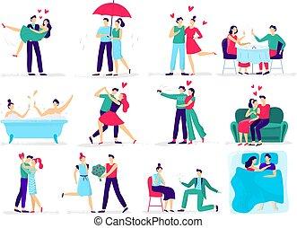 恋人, セット, 愛, 恋人, love., 接吻, restaurant., イラスト, カップル, ベクトル, 恋人, 抱擁, 提案, 作り, 日付