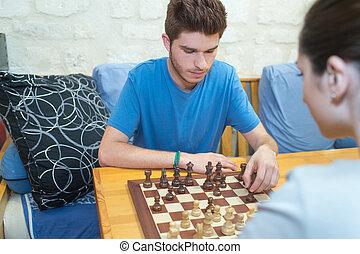 恋人, チェス, chesscouple, 楽しむ, 遊び, 幸せ