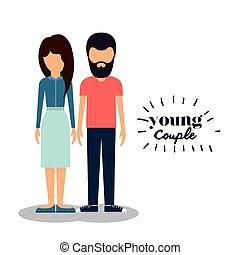 恋人, デザイン, 若い