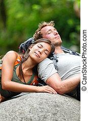 恋人, ハイキング, 弛緩, 自然, 恋人, 睡眠