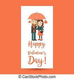 恋人, バレンタイン, 傘, 日, フライヤ