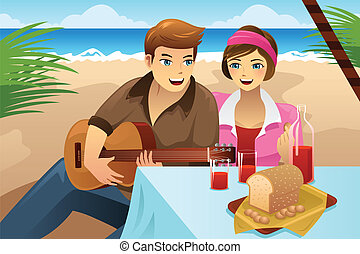 恋人, ピクニック, 持つこと