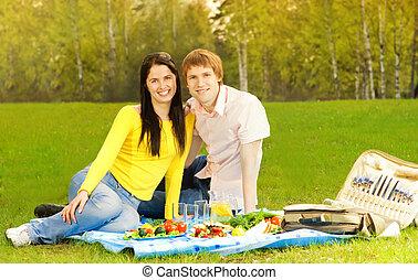 恋人, ピクニック, 若い, ロマンチック