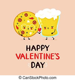 恋人, ピザ, 幸せ, かわいい, ビールガラス
