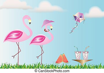恋人, フラミンゴ, ピクニック, 持つこと, 自然
