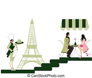 恋人, フランス語, イラスト, レストラン