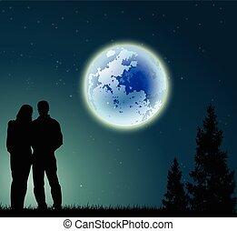 恋人, フルである, シルエット, 月