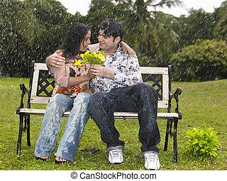 恋人, ベンチ, 公園, モデル