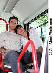 恋人, モデル, 上に, a, バス