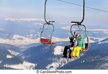恋人, リフト, スキー, スノーボーダー